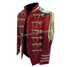 2017 Men Costume Classic Men's Colored Blazer Mens Sequin Dance Jacket Vetement Homme Clothing for Men Red Sequin Blazer Men