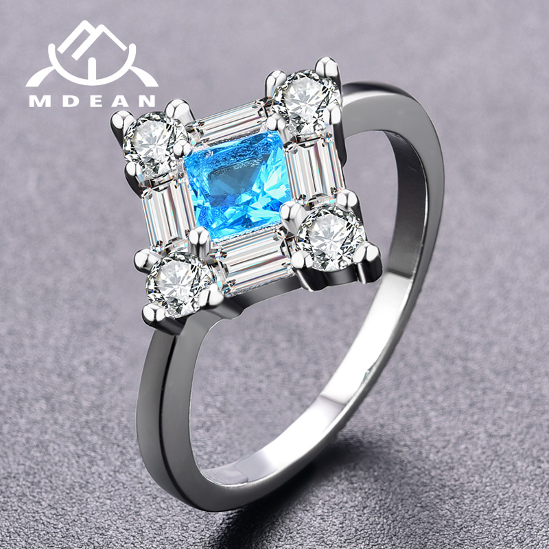 MDEAN Noble White Gold Color Engagement Blue AAA Rings for Women Wedding Zircon Jewelry Bague Bijoux Size 6 7 8 H825