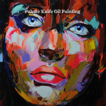 Hand painted Francoise Nielly Palette knife portrait Face Oil painting Character figure canva wall Art picture12-39