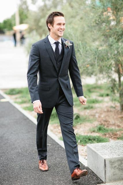 Wholesale Three Pieces Custom Made dark gray Wedding Fashion Wedding ...