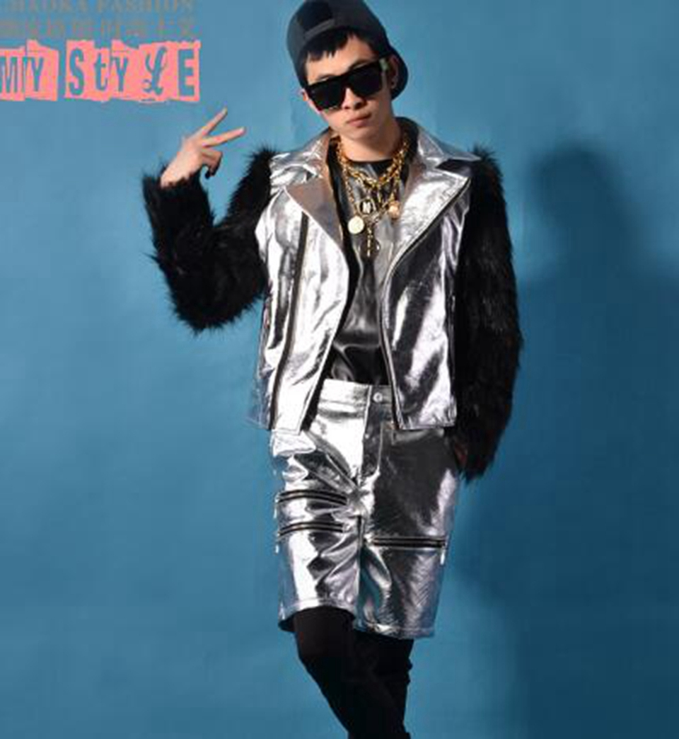 Mens spring and autumn new fashion casual trend boutique host bar stage wear silver patchwork suit and shorts suit / M-2xL