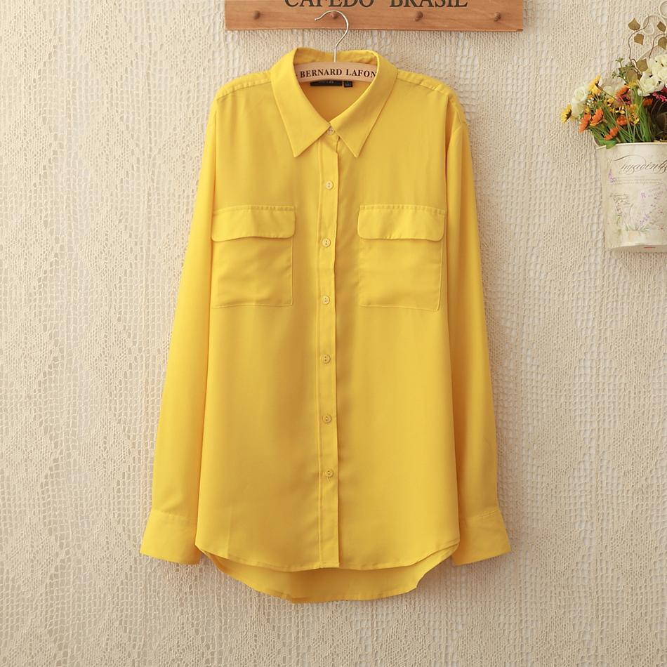 1096 New Fashion Blusas Femininas Bright Yellow Chiffon