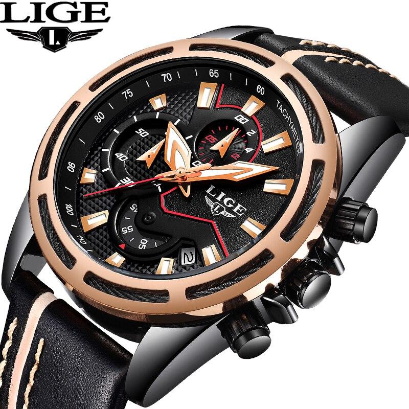 где купить LIGE Mens Watches Top Brand Luxury Mens Military Sports WristWatch Mens Big Dial Waterproof Quartz Watch Relogio Masculino+Box по лучшей цене