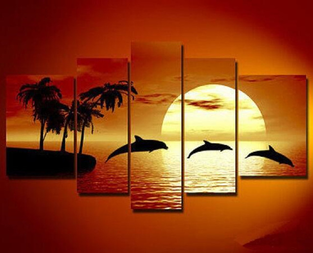 5 Panel Painting Bedroom Abstract Modern Seascape Acrylic Paintings Palm Trees Sunset Landscape Canvas Oil Art