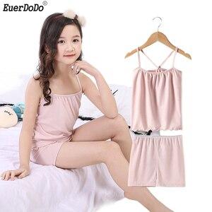Image 1 - Pijamas infantis para meninas pijamas algodão verão pijamas crianças colete shorts 2 pçs terno 3 4 5 6 7 8 9 10 11 12 anos menina