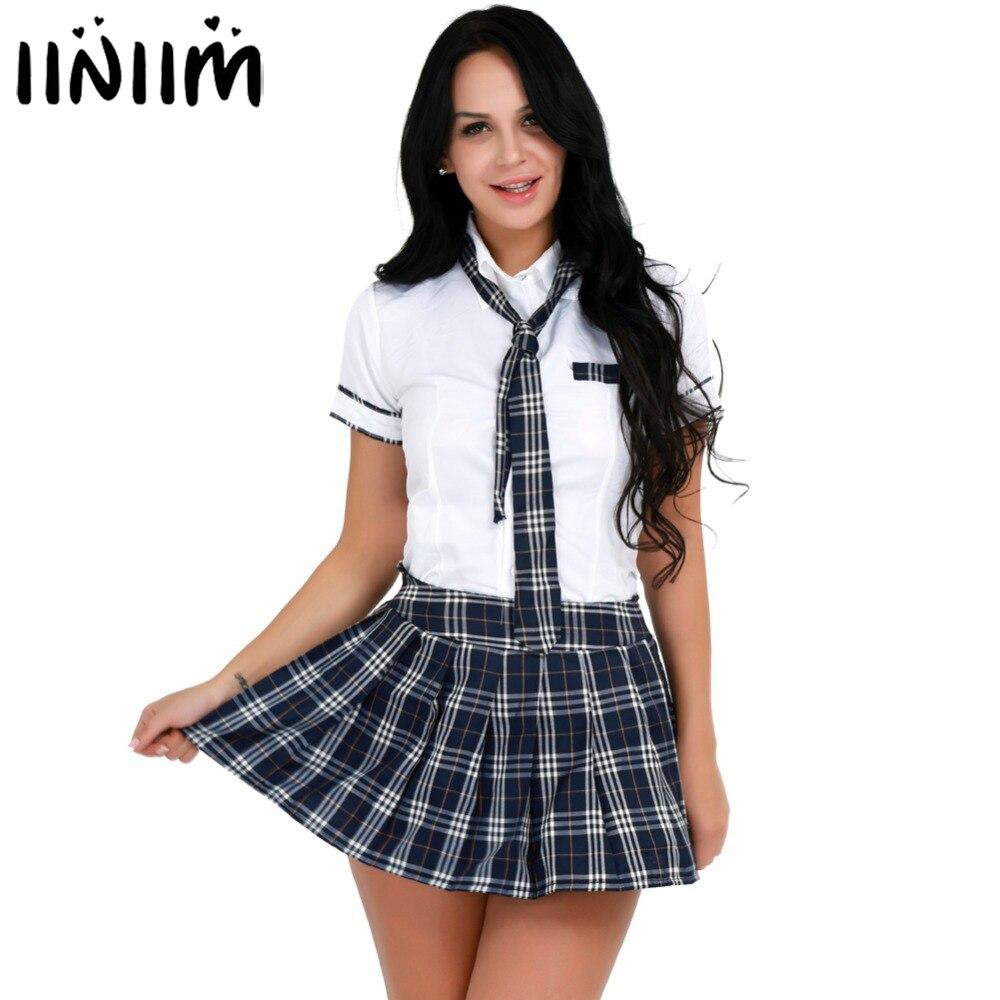 iiniim Japan Halloween Costumes for Womens Adult School Girls Uniforms Sexy Cosplay Shirt with Plaid Skirt Tie Sexy Clubwear