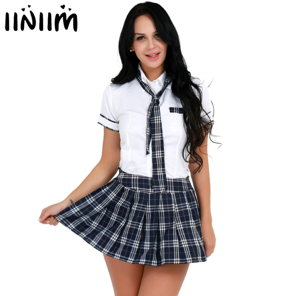 Iiniim Womens Adult Halloween Costumes School Girls Uniforms Sexy Cosplay Parties Shirt With Plaid Mini Skirt Tie Sexy Clubwear