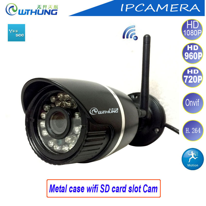 IP camera wifi wired bullet <font><b>metal</b></font> HD 720P 960P 1080P CMOS Sensor Support onvif2.0 SD card motion detector for cctv home security