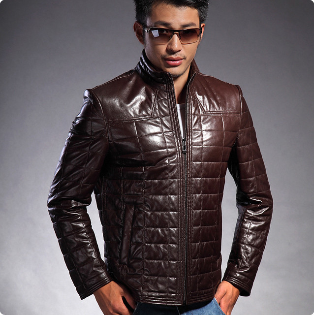 Hot selling mens sheepskin knitted genuine leather slim fit the man's clothing of the large sizes brown leather zipper HN023