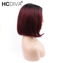 HCDIVA Mongolian Short Bob Wigs NonRemy Hair Straight Lace Front Human Hair Wigs T1B/Burgundy Color 130% density For Women