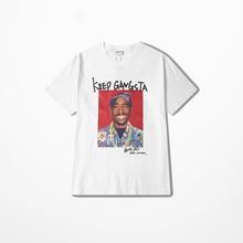 2pac Rap T koszula mężczyzna główna ulica lato odzież na co dzień krótki rękaw mężczyzna T koszula Hip Hop deskorolka Kanye West Coast koszulka