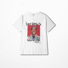 Camiseta de Rap de 2pac para hombre, ropa informal de verano de calle, camiseta de manga corta para hombre, camiseta de Skateboard de Hip Hop, camiseta de Kanye West Coast