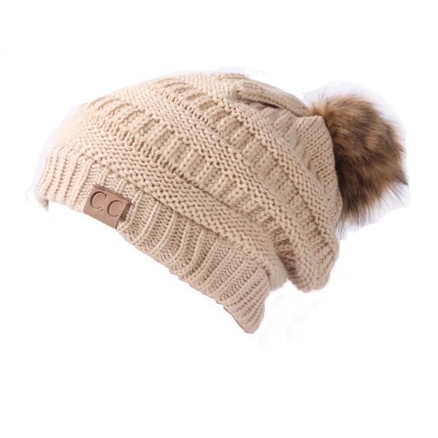e3d88d8814ffb8 Hot Winter Winter Hat Lady Women's Knitted Cap Autumn Winter Men Warm Hat CC  Skullies Brand Heavy Hair Ball Twist Beanies Letter