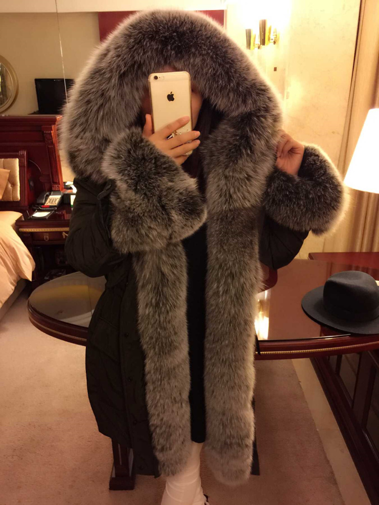 luxurious 2018 winter new fashion genuine large silver fox fur collar hood long goose   down     coat   for women black plus oversize xl