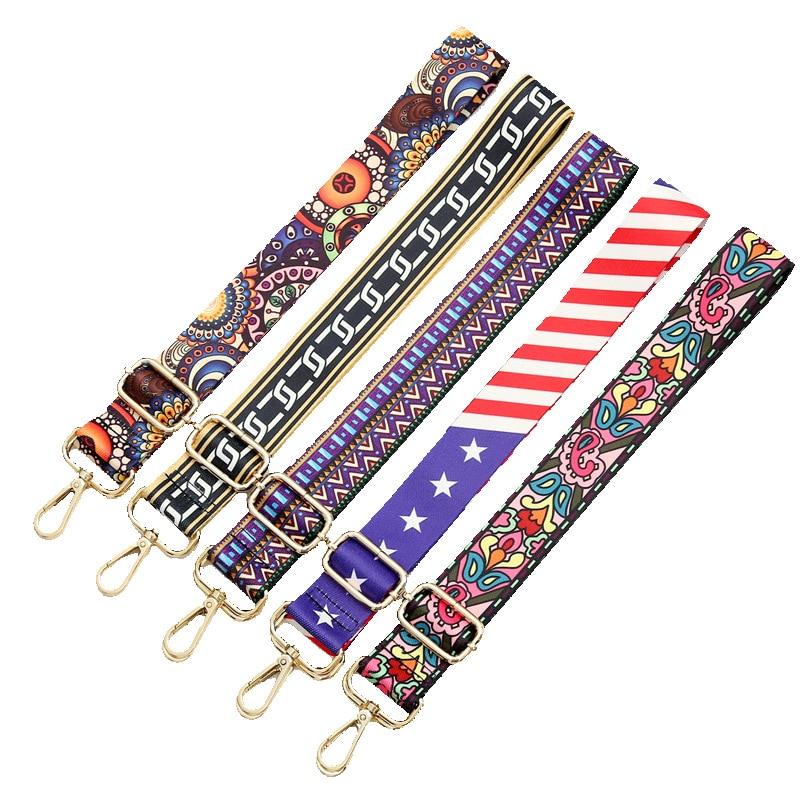 Luxury Nylon Colored Belt Bags Strap Accessories For Women Rainbow Adjustable Shoulder Hanger Handbag Straps Decorative