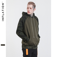 INFLATION 2017 Camouflage Sleeves Male Hoodies Army Military Camo Hip Hop Thick Fleece Hoodies Winter Men