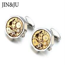 JIN&JU Hot Sale Non-Functional Watch Movement Cufflinks Don't Move Stainless Steel Steampunk Gear Watch Mechanism for mens