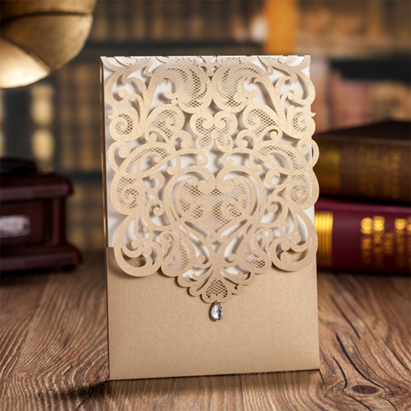 New Cheap flowers Laser Cut Wedding invitations Kit elegant Lace Printing Blank Invitation Cards Vintage Paper convite Set design laser cut lace flower bird gold wedding invitations kit paper blank convite casamento printing invitation card invite