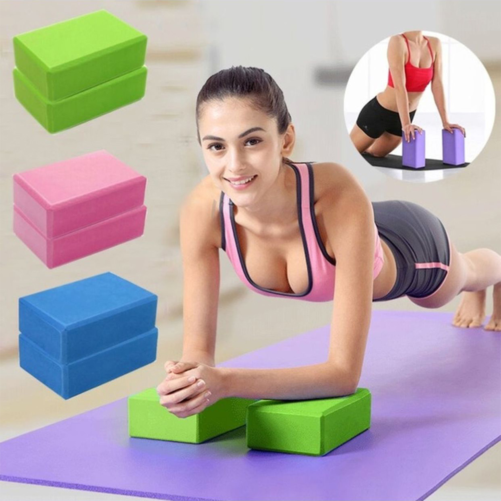 EVA Yoga Block Brick Sports Exercise Gym Foam Workout Stretching Aid Body Shaping Health Training Fitness Brick Q 2pcs yoga eva foam roller block pilates massageroller brick yoga stretch belt strap fitness tool for body exercise gym fitness