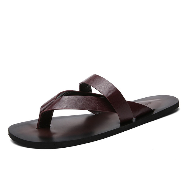 726a5163b5 Flat With Beach Fashion Outside Men's Slippers Leisure Concise Microfiber  Summer Flip Flops Sewing Solid Narrow