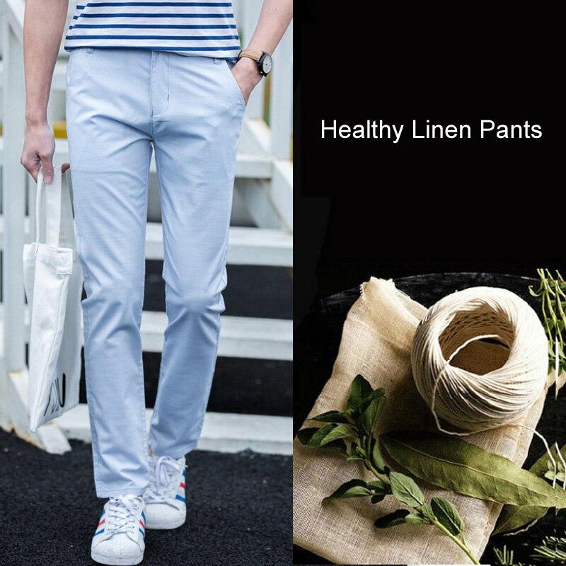 LOMAIYI Linen Pants Men Spring/Summer Stretch Flax Men's Classic Trousers Male Khaki Hemp Cotton Pants Men Pants Casual BM159