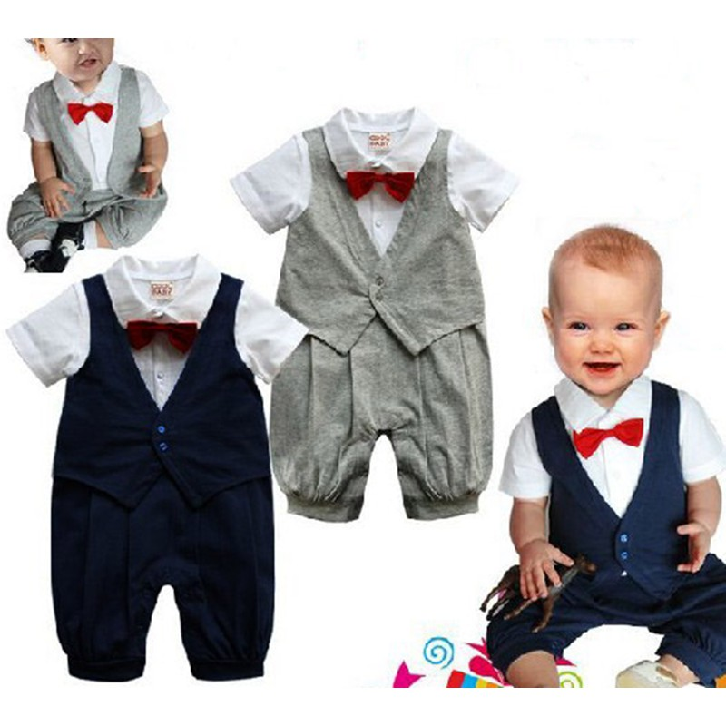 Gray One Piece Gentleman Romper Suit with Bowtie Vest Jumpsuit Fantasias Infantil Macacao Bebe Baby Boy Clothes Infant Clothing 2017 summer baby rompers tuxedo shortall jumpsuit bebe clothing two piece set vest bowtie baby braces rompers kid clothes