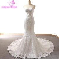 Элегантное простое свадебное платье Милое Свадебное платье русалки 2018 длина до пола кружевное свадебное платье с аппликациеми Robe de Mariage