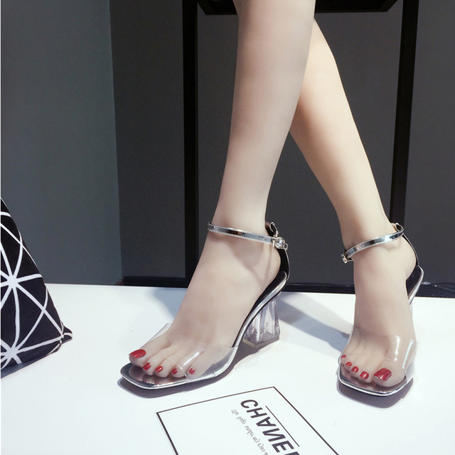 15a23c68842 US $17.39 20% OFF|Womens Shoes Summer Transparent Shoes High Heel Pumps  Wedding Shoes Clear Heel Jelly Sandal Sexy Ladies Shoes Black 6O0165-in  High ...
