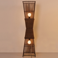 Chinese style bamboo LED floor lamps room study floor rattan vertical creative Retro light ZA81020