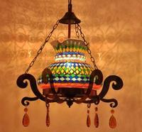 Турция светлый цвет стеклянная мозаика Открытый Подвесные Светильники особенности ресторан кафе Интернет Cafe украшения бар тайский лампы