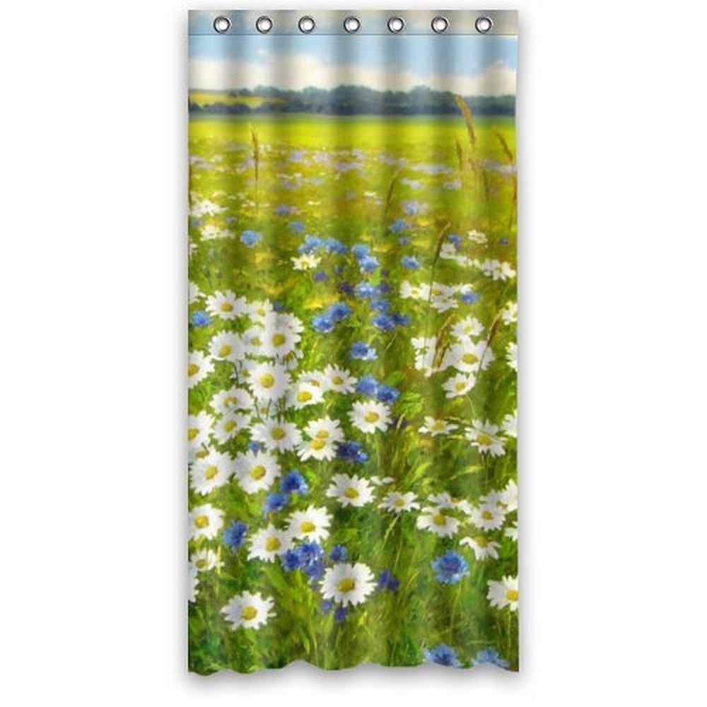36wX72h Inch Waterproof Bath Fabric Shower Curtain Vintage Oil Painting  Daisy Flower Field Art Design(