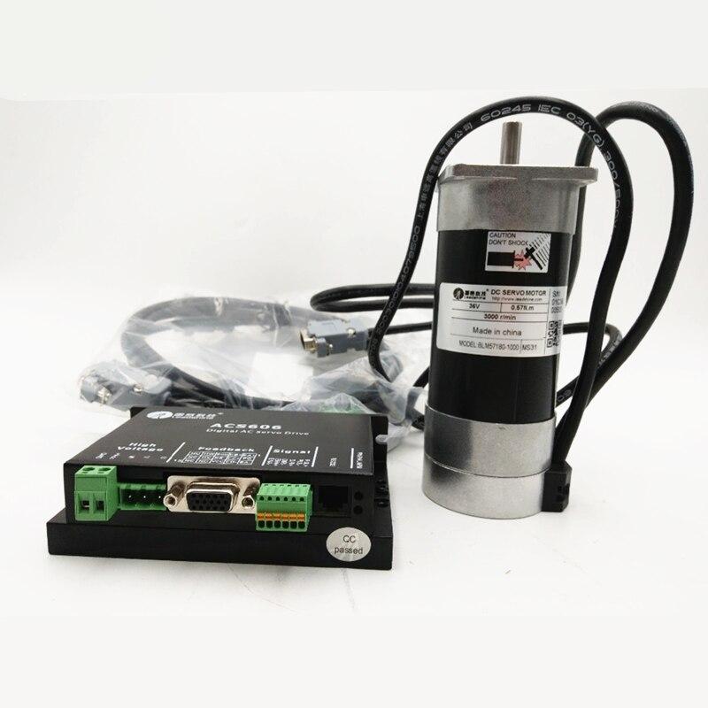 Leadshine 180 Вт бесщеточный Серводвигатель постоянного тока + комплект привода BLM57180 1000 + ACS606 + кабель 6.7A 36VDC 0,57 нм 3000 об/мин управление импульсом