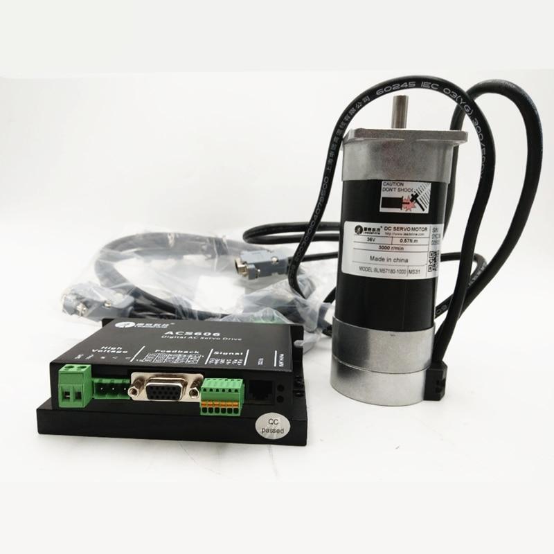 180w Dc Brushless Servo Motor Drive Kit 0.57nm 36v Acs606 Servo Driver Dc18-60v Cable Leadshine Set Blm57180-1000+acs606