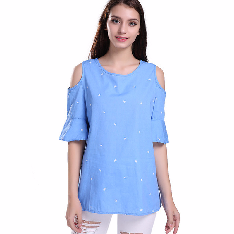 Summer Womens T-shirts Plus Size 2018 Loose Leak Shoulder Short-sleeved Cotton Printed Female Shirts Large Star Printed Tops