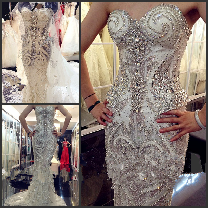 Sexy Mermaid Crystal Beading Sequined Wedding Dresses Luxury Long Formal Bridal Robe De Soiree Custom Made QUEEN BRIDAL LR07M