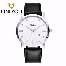 ONLYOU Round Stainless Steel Clasp Pocket Watch 5Bar Waterproof Leather Watchband Man's Watch Date Display Womans Watches Heart-