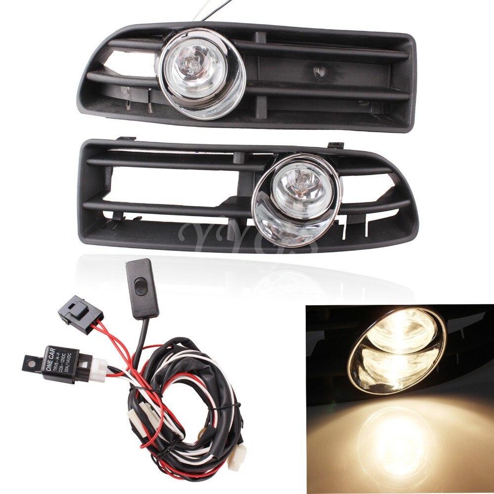 ФОТО 2PCS Bumper Grille Grill Driving Fog Lamp Lights Switch Harness For VW JETTA BORA MK4 TDI 1999-2004 Black