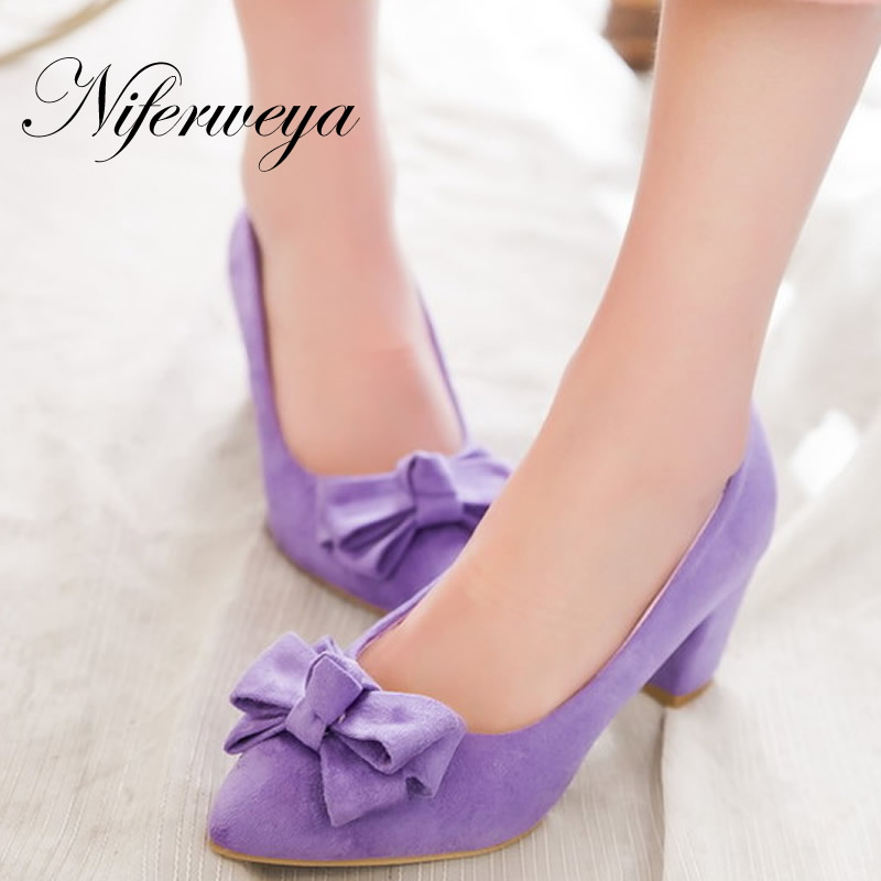 Women pumps big size 33-43 sweet bowknot decoration ladies shoes fashion Pointed Toe Slip-On purple high heels zapatos mujer new 2017 spring summer women shoes pointed toe high quality brand fashion womens flats ladies plus size 41 sweet flock t179