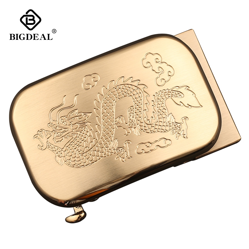 BIGDEAL Men's Solid Brass Copper Designer Belts Dragon Automatic Buckles 3.5cm Width Ratchet