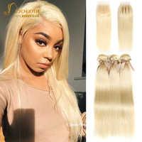 Joedir Haar 613 bundles mit verschluss Brasilianische Gerade Haar Bundles Mit Verschluss Menschliches Haar Weben 3 4 Bundles Mit Verschluss