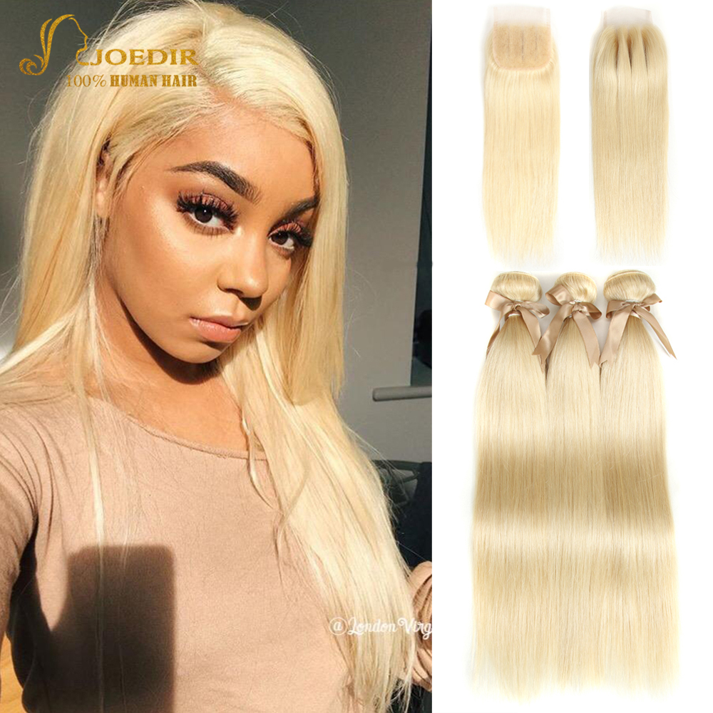 Joedir Hair 613 Bundles With Closure Brazilian Straight Hair Bundles With Closure Human Hair Weave 3 4 Bundles With Closure