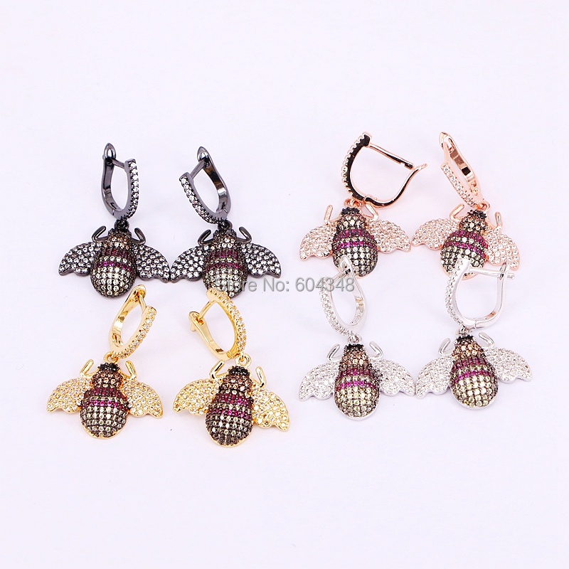 5 Pairs ZYZ184 9288 Crystal zirconia Micro Pave CZ insect BEE earrings insect jewelry fashion earrings