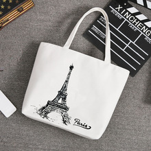 Fashion Character Women's Shoulder Bag Durable Canvas Portable Handbag Female Cartoon Casual Tote Bag Light Weight Shopping Bags