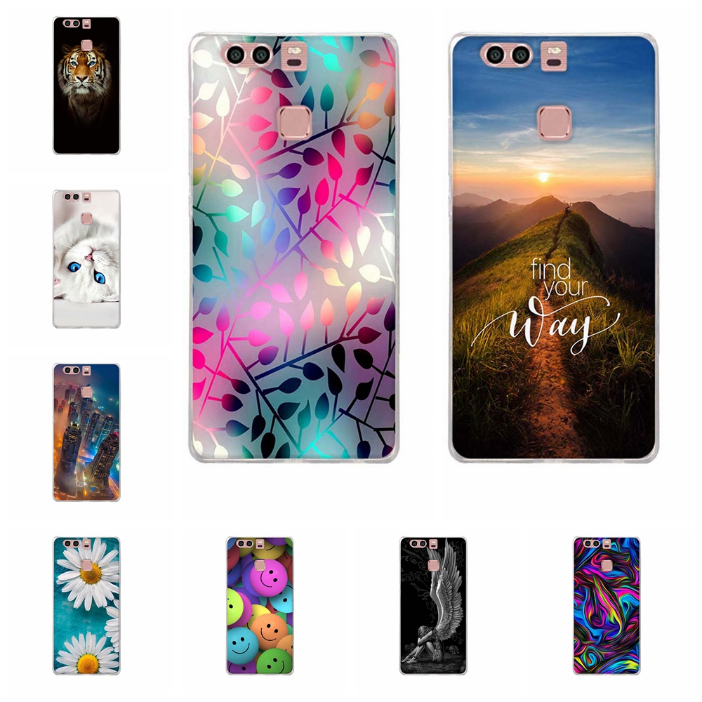 For Huawei P9 Case Slim Soft TPU Silicone For Huawei P9 EVA-L09 EVA-L19 EVA-L29 Cover Geometric Patterned For Huawei P9 Bumper