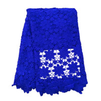 High Quality African Lace Fabric 2017 Royal Blue Cord Latest Nigerian French Mech Lace Fabric Embroidered