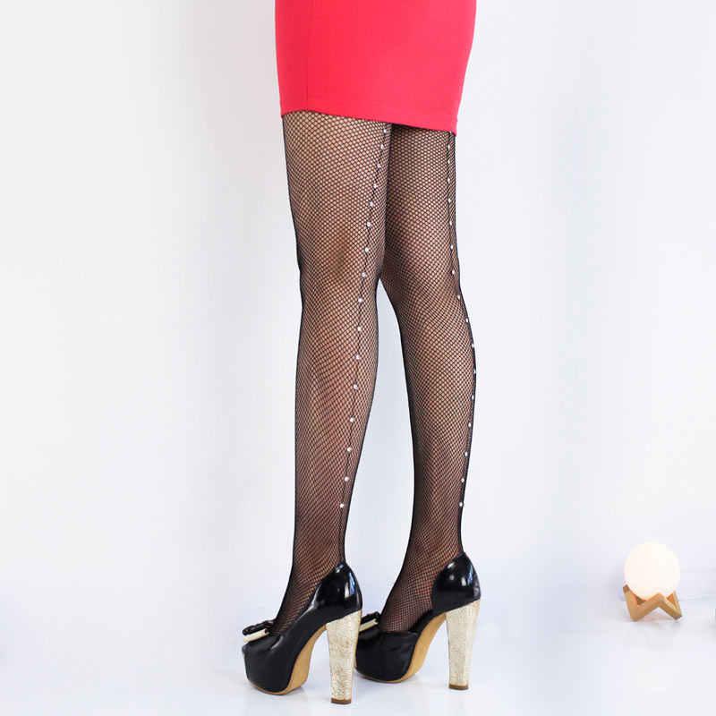 ca58e3918b6 ... 2019 Hot Sale Vintage Design Back Line pantyhose Seam Sexy Women s  Diamonds fishnet stocking Shiny tights
