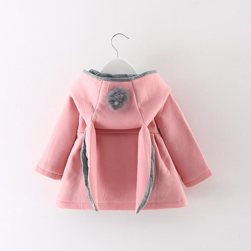 Kızlar kapşonlu ceket kaban sonbahar kış çocuk tavşan kulak dış giyim sevimli ceketler bebek palto bebek giyim
