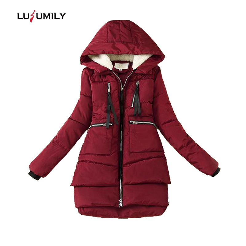 Lusumily Winter Cotton Coat Women 2019 New Parkas Plus Size 5XL Thickening Hooded Coats Warm Long