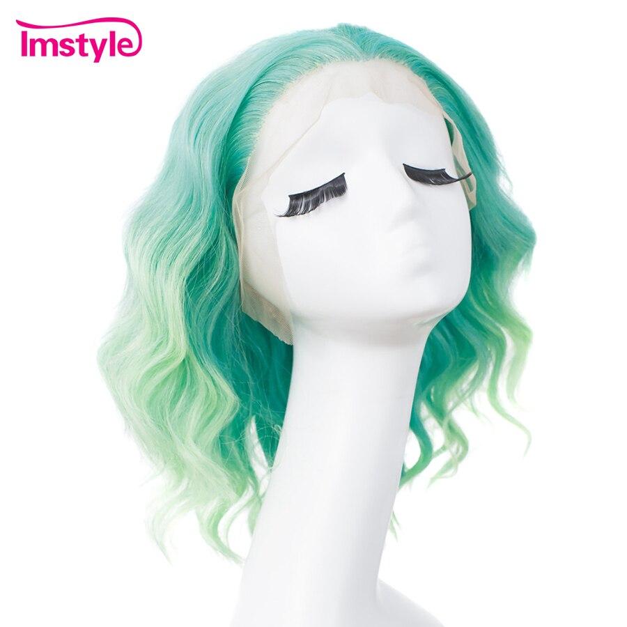 Imsyle vert Ombre bleu perruque synthétique dentelle avant perruque cheveux courts perruques pour femmes résistant à la chaleur Fiber vague profonde Cosplay perruques 14''