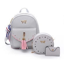 Fringed shoulder bag 2019 new Korean version of the wild ins super fire travel small backpack girl heart three-piece